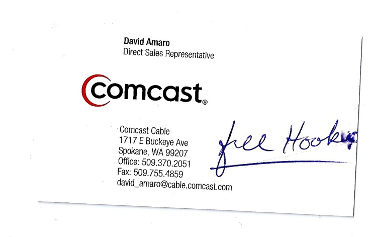 Comcast Business Card Offering Free Hookers